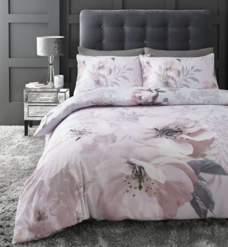 Catherine Lansfield Dramatic Floral Blush Bedding Set